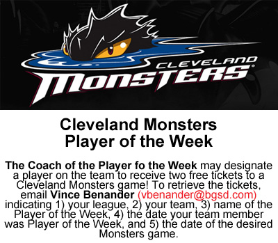 MONSTERS' Player of the Week